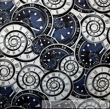 BonEful Fabric FQ Cotton Quilt VTG Black White B&W Gray Clock Swirl Number Retro