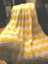 """AFGHAN BLANKET THROW - CLASSIC RIPPLE PATTERN - YELLOW/WHITE - 55"""" X 68"""" - NEW"""