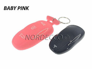 New Silicone Smart Key Fob Protector Case Cover With Keyring Tesla Model S PINK