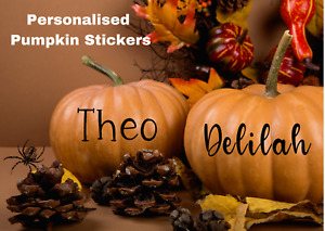 Personalised Halloween Pumpkin Stickers Vinyl Decals Window Wall Decorations