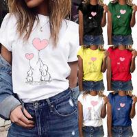 Women's Elephant Gesture Print Short Sleeve T-Shirt Tops O-Neck Blouse Plus Size