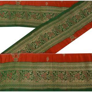 "Sanskriti Vintage 1 Yd Trim Sari Border Brocade Craft Sewing Green 4""W Lace"