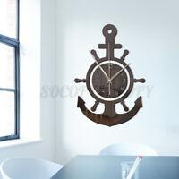 Anchor Wall Clock Nautical Pirate Ship Wheel Hanging 3D Mediterranean Styl