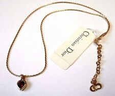 Signed Christian Dior Necklace Gold Plated Ruby Red Crystal Heart Pendant New