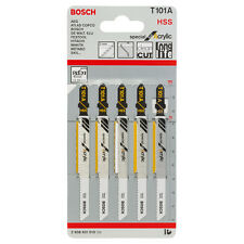 5 x Bosch brand T101A acrylics, perspex & polycarbonate jigsaw blades