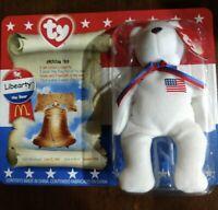 """TY McDonald's Beanie Baby """" Liberty the Bear """" 1996 RARE TAG ERRORS"""