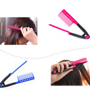 1x V Type Hair Comb Hair Straightener Combs DIY Haircut Anti-static Combs HB