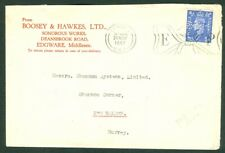 """Great Britain – Perfin """"B&H"""" (Boosey & Kawkes Ltd.) on London to Surrey Cover"""