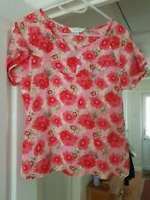 Pretty Next Red Multi Floral Top, Short Sleeves, 100% Cotton, Size 14, VGC