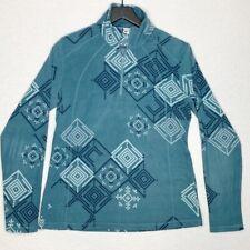 Columbia Womens Pullover Sweatshirt Green Zip Geometric Long Sleeve Mock Neck L
