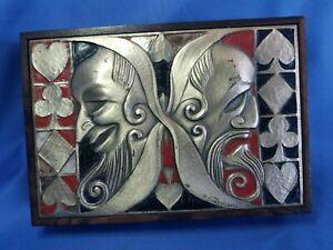 MID-CENTURY MODERN ENAMEL STERLING  OTTAVIANI CARD BOX Italy art nouveau