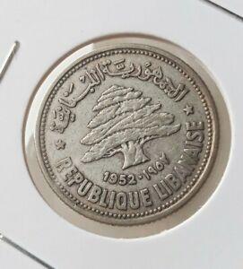 1952 Lebanon 50 Piastres Qirshā .600 Silver Coin LB5220