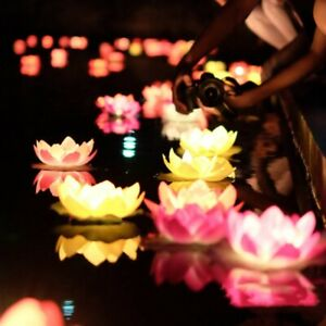Outdoor Floating Lotus Light Pool Garden Water Flower LED Lamp Lights