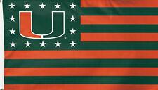 University of Miami Hurricanes Deluxe Grommet Flag Stars Ncaa Licensed 3' x 5'