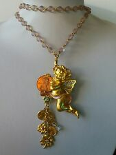 KIRK'S FOLLY LUCKY PENNY ANGEL CHARM LONG NECKLACE/ BROOCH  ( RARE ).