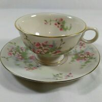 Theodore Haviland New York Tea Cup Saucer Apple Blossom With Gold Rim And Trim