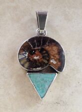 Charles Albert Fine Sterling Silver Pendant With Fossil + Turquoise ~ Handmade ~