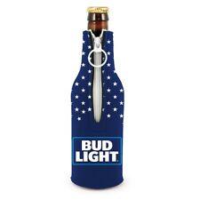 Bud Light Beer Bottle Suit Koozie (1) Cooler Coolie Usa Stars Zip Neoprene New