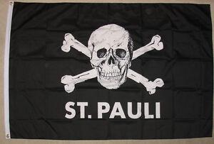 ST. PAULI  Fahne  Flagge Fahnen  Wimpel Ösen Totenkopf Neu 100 x 150 Wetterfest