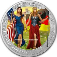 2019 Germania & Columbia Allegories 1 Ounce Pure Silver Colorized Coin!
