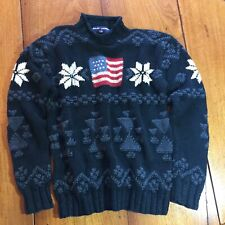 Vintage Polo Ralph Lauren Sweater Ski Flag Snowflake Size L Large PRIORITY MAIL
