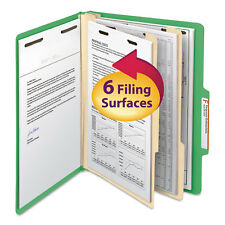 Smead Top Tab Classification Folder Two Dividers Six-Section Letter Green 10/Box