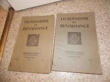 1935.Humanisme et renaissance.Imprimerie reliure.Collectif