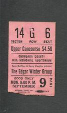 Original 1974 Edgar Winter Group Concert Ticket Stub Onondaga Ny Shock Treatment