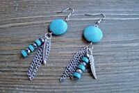 "3"" Long Dangle Earrings Feather Chain Bead Stone Gypsy Boho Cowgirl Jewelry"
