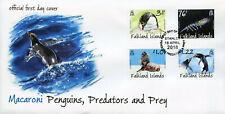 Falkland Islands 2018 FDC Macaroni Penguins Predators Prey 4v Cover Birds Stamps