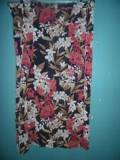 Villager black, maroon and brown floral faux-wrap skirt   Size 2X