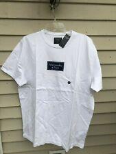 Abercrombie & Fitch Men's LOGO TEE T-shirt WHITE W/ BLUE Size XXL