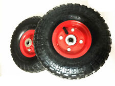 "2 x 250m (10"") Heavy Duty Trolley Wheels 16mm Arbor Pneumatic Wheels 4.10/3.50-4"