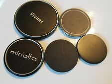 Vintage Lot of 5 Front Camera Lens Covers - Metal MINOLTA ASAHI VIVITAR
