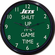 """New York Jets Football NFL Shut Up It's Game Time Wall Clock Bowles Man Cave 10"""""""