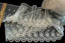 "4"" IMPORTED FRENCH RAYON EMBROIDERED BORDER LACE ON TULLE - IVORY"
