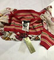 JUST CAVALLI Red and Gold Silk Top Blouse Sz Small