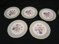 "Lot of 5 Noritake ""Shasta"" Salad Plates  Purple Flower Green Border VGC"