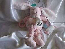 Doudou d'activités lapin rose , Baby Nat, (Babynat)