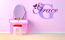 """Butterfly Monogram Name Girls Room Vinyl Wall Decal Graphics 20""""x13"""" Decor"""