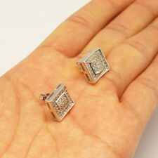 925 SILVER NEEDLE MICRO PAVE LAB DIAMOND SQUARE STUD EARRING(12mm x 12mm)