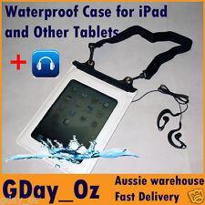 Waterproof & Dustproof Dry Bag w Earphones Connector. For iPad Tablet - White