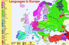 A2 size laminated LANGUAGES IN EUROPE educational classroom school poster