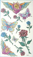 King Horse Rose Butterfly Glitter Temporary Tattoos #HM0076