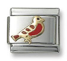 Italian Charm Bird 9 mm Stainless Steel Link Fit Bracelet Red Enamel 18k Gold