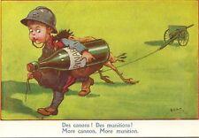CPA FANTAISIE 1910 GUERRE ENFANT CANONS MUNITIONS