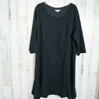 Isaac  Mizrahi Live! Plus Size 3X Black Dress 3/4 Sleeves 22/24 Free Shipping
