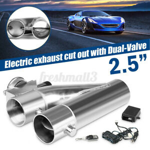 2.5'' inch 63MM Dual Valve Exhaust E-Cut Out Y-Pipe Electric Pipe Remote Kit Car