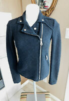 Rebecca Taylor Size 0 Solid Black Boucle Moto Jacket Full Side Zip (Retail $495)
