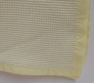 "VTG Baby Blanket Cotton Waffle Yellow Thin 3/4"" Nylon Satin Trim 29x34"